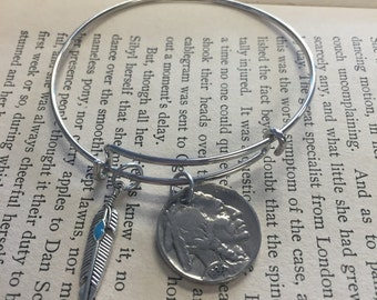 The Stella Bracelet - Real Buffalo Nickel Bracelet with Feather