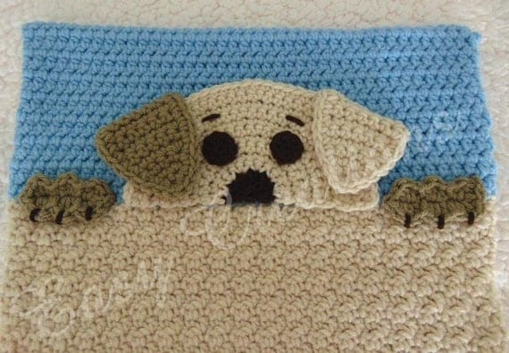 Animal Pillow That Turns Into Pajamas : PDF CROCHET PATTERN Peek-a-Puppy, Puppy Pajama Pillow, boy Pj bag, girl Pj pillow, animal Pj ...
