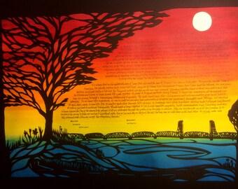 Sunset Sky over the Stillwater Bridge - ketubah - papercut design
