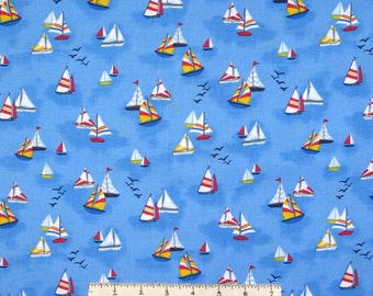 Nautical Fabric - Sailboats on Ocean Blue Blender - Timeless Treasures YARD