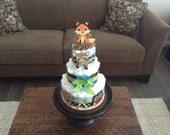 Woodland Fox baby Boy shower diaper Cakes Baby Shower Centerpieces in other colors and sizes too
