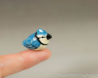 Little Blue Jay Bird - Terrarium Figurine - Miniature Ceramic Porcelain Animal Bird Sculpture - Hand Sculpted
