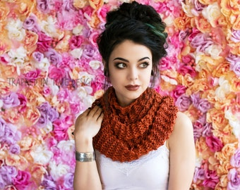 Rust Hand Knit Cotton Scarf, Cotton Scarf, Rust Drop Stitch Scarf, Orange Knit Scarf, Brown Cotton Scarf