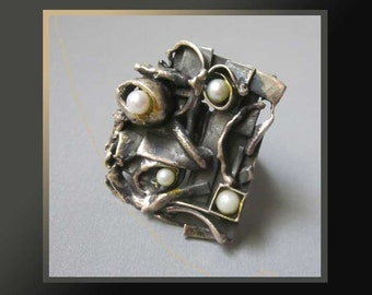 HUGE Ring,Brutalist Abstract Sterling Silver Gold Wash Multi Pearl Ring,One of a Kind Modernist Ring,Vintage Jewelry,Women