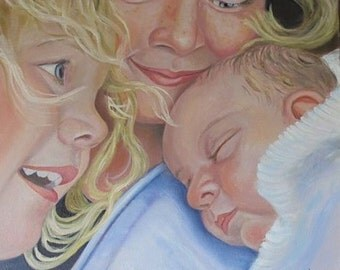 CUSTOM FAMILY PORTRAIT Three Person Custom Portrait in oil 18 x 18 and larger