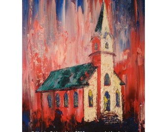 14x11 Expressionist original oil painting, historic church architecture, Texas, home decor, Vernita Hoyt Fine Art
