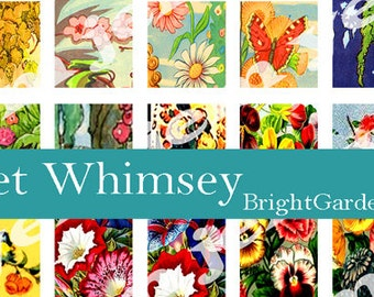 Digital Bright Garden pattern inchies, Printable collage mini sheet, jewelry pendant 1x1 inch squares.