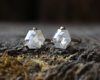 Natural Rose Cut Hexagon Diamond Stud Earrings
