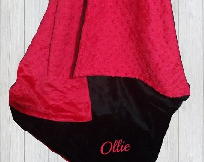 SALE Red and Black Minky Baby Blanket, available in three sizesCan Be Personalized