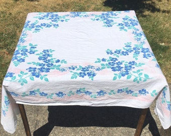 Beautiful Vintage Linen Tablecloth Square Blue Flowers Pink Ribbon Bow Large White Table Cloth