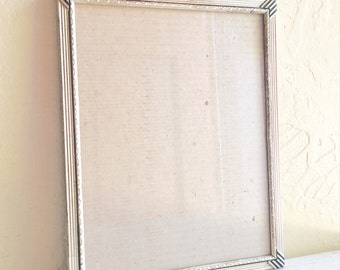 Unique Vintage Silver Metal Picture Frame 7.5 x 9.5 8x10 Filigree Corners Patina 7x9
