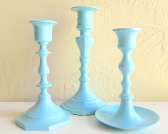 Set of Light Blue Painted Metal Candlesticks Candle Holders Classic Design 3 Three Trio