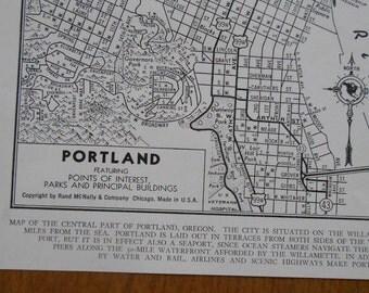 vintage street map, Portland Oregon City Map, 1944
