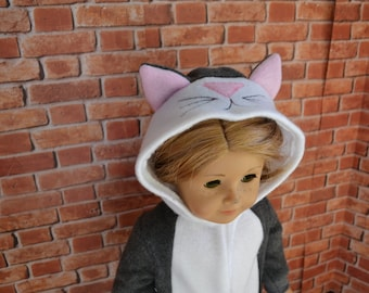 18 inch Doll Clothes - Grey Kitty Cat Sleeper or Costume - MADE TO ORDER  - Halloween - fits American Girl