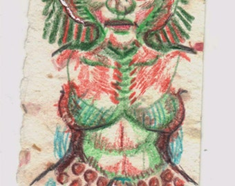 Real Mermaid, geekery color pencil drawing, Whovian?,