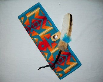 Feather Holder Wool Turquoise Overall Southwestern Geometric Tribal Handcrafted Using Fabric from Pendleton Woolen Mill