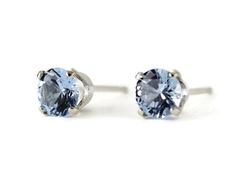 14k White Gold Aquamarine Studs -  Birthstone Post Earrings - 14k White Gold Earrings -Choose Your Stone