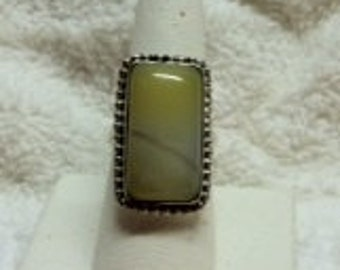 Beautiful Yellow Botswanna Agate and Silver Ring, Size 7.25
