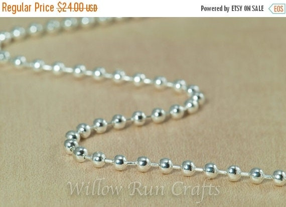 "ON SALE 50 Shiny Silver Plated Metal Ball Chain 2.4mm with Connectors , 24"" Length. (15-40-262)"