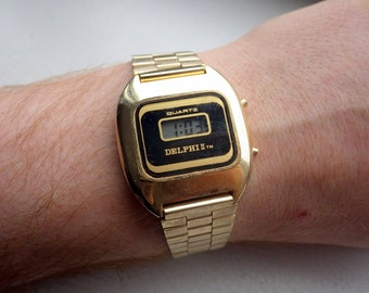 Vintage Geek LCD Watch - All 1980s - Delphi 2 - Gold Plated Hipster.