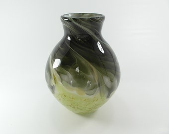 Handblown art glass vase in Tourmaline and meadows green, Medium size