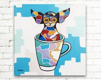 Dog Art, Chihuahua Painting, Chihuahua Art, Dog Painting, Original Painting, Gift for Kids 12x12