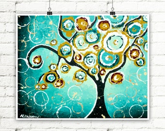 Tree PRINT Turquoise Wall Art Whimsical Tree of Life Art Curly Tree Woodland Living Room Decor Signed Print