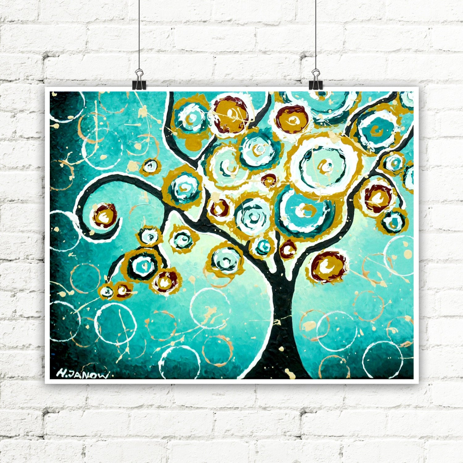 tree print turquoise wall art whimsical tree of life curly. Black Bedroom Furniture Sets. Home Design Ideas