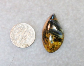 outstanding BLUE and BROWNS with gold PIETERSITE freeform cabochon 1