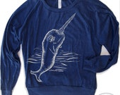 Womens NARWHAL Tri-Blend Pullover - american apparel S M L (Color Options)