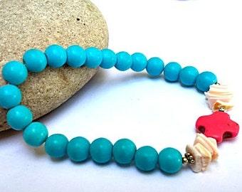 Turquoise cross bracelet - stretch bracelet - hot pink - shell jewelry - trendy jewelry - boho stacking bracelet - turquoise bracelet