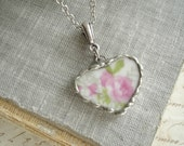 Broken China Heart Necklace. Rose Necklace. Broken China Jewelry. Vintage Heart Pendant. Romantic Layering Necklace. Valentine's Day Gift.