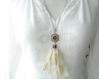 Typewriter Key Necklace. Letter T Necklace. Vintage Typewriter Key Jewelry. Long Sari Silk Tassel Boho Beaded Necklace. Eco Friendly Gift.