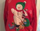 Ugly CHRISTMAS Sweater Party Sweatshirt // 1980s PAINTED BLING // medium