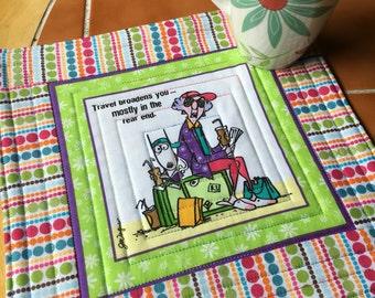 Maxine on the Road - Mug Rug or Candle Mat  - oversized coaster