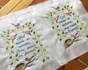 Sisters / Friends/ Cousins Embroidered quilt block - ready to sew or frame 10 x 12 in block / sewist / gift for her / DIY / quilter / floral