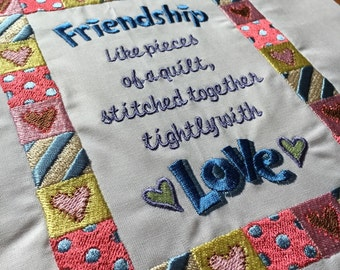 Friends / quilting / Embroidered quilt block - ready to sew or frame 10 x 12 inch block