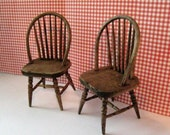 Dollhouse Kitchen  chairs, Two kitchen chairs, miniature chairs, dark oak chairs, distressed chairs, twelfth scale, dollhouse miniature