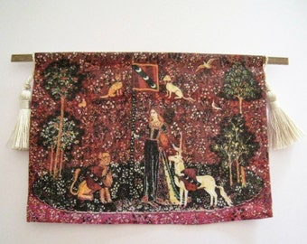 Dollhouse Tapestry, Medieval  Tapestry, wall hanging   lady and unicorn, unicorn, Tudor tapestry, twelfth scale dollhouse miniature