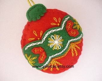 Christmas ornament - red and green felt decoration - wall decor