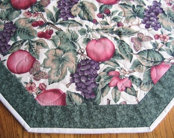 "Quilted Octagon Mat with Apples, Grapes, Cherries, Rasberries and More Fruit - 22"" diameter"