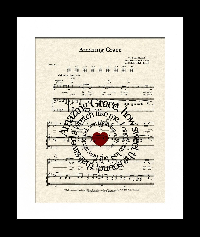 Amazing Grace Lyrics And Sheet Music: Amazing Grace Song Lyric Sheet Music Art Print By