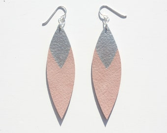 Painted Leather Leaf Earrings - Blush Pink Leather and Silver with Sterling Silver