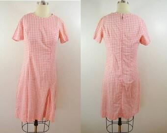 Vintage Pink Gingham Short Sleeve Dress Zipper Back Cute Retro Cotton Dress
