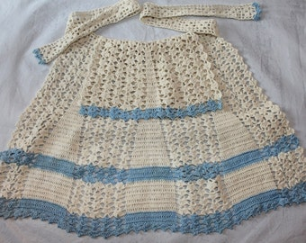 reserved for Carin Ka-Yan Chea Crocheted Apron, Blue and White, 1940's Era