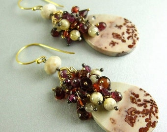 25% Off Summer Sale Chohua Jasper and Garnet Gold Filled Cluster Earrings