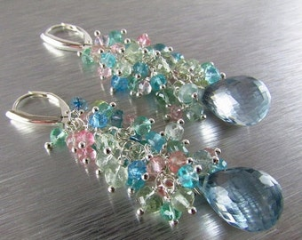 End Of Summer Sale Aquamarine and Pale Blue Quartz Long Cluster Sterling Silver Earrings
