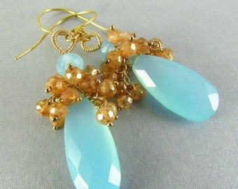 BIGGEST SALE EVER Aqua Chalcedony And Mystic Gold Quartz Cluster Earrings