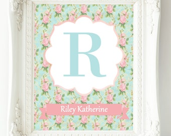 Girls Wall Art, Teal Pink Nursery Wall Decor, Baby Girl Nursery, Nursery Decor Girl, Personalized Nursery Print, New Mom Gift, Letter Art