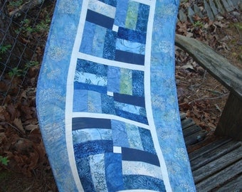 Blue Quilted Table runner Bed Runner